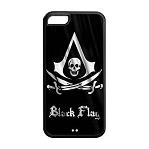 5C Phone Cases, Black Flag Hard TPU Rubber Cover Case for iPhone 5C
