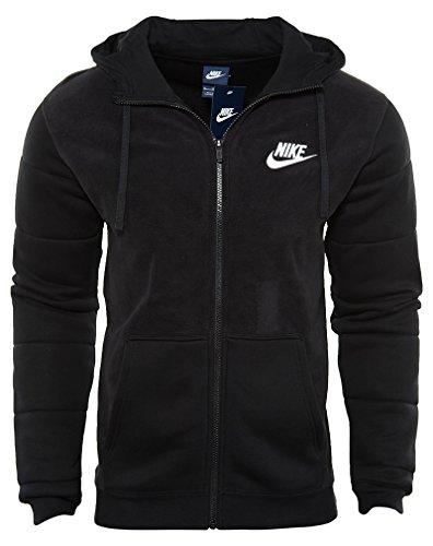 New Nike Men's Sportswear Full-Zip Hoodie Black/Black/White X-Large