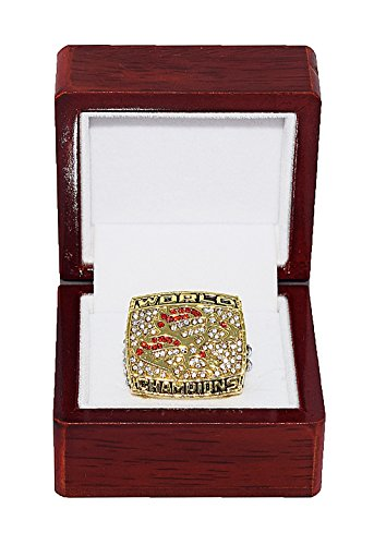 Elway Denver Broncos Super Bowl (DENVER BRONCOS (John Elway) 1998 SUPER BOWL XXXIII WORLD CHAMPIONS Vintage Rare & Collectible High-Quality Replica NFL Football Gold Championship Ring with Cherrywood Display Box)