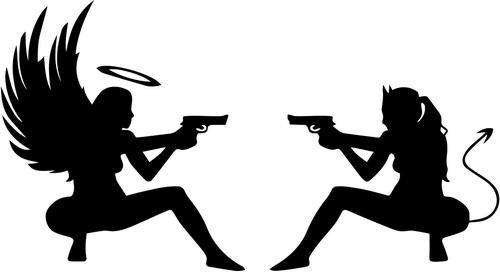 Sexy Angel Devil Girls Shooting Guns Vinyl Decal Sticker- 6