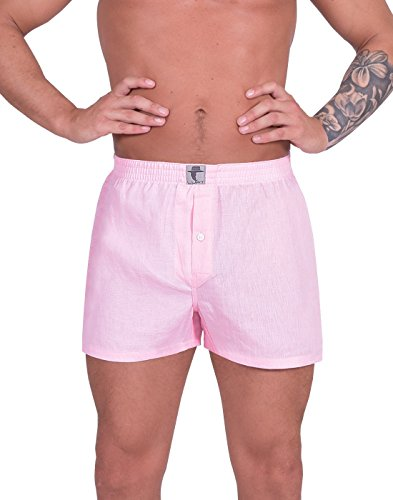 Luft Mens Boys Man Plus Size Linen Soft Stretch Comfortable Elastic Waistband Breathable Cool Low Rise Fit Classic Functional Seamless Casual Trunks Briefs Underpants Underwear Boxer Shorts, Pink XL