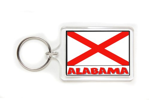 Souvenir Alabama State Flag Double Sided Acrylic Key Ring Large Stocking -