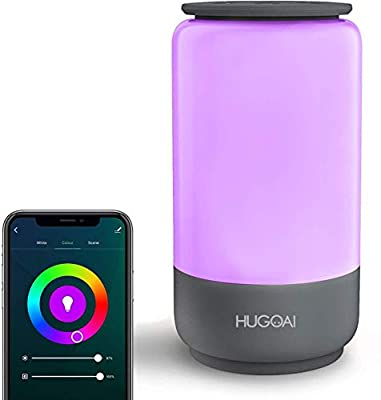 Smart Table Lamp, HUGOAI Dimmable Bedside Lamps for Bedrooms, Works with Alexa & Google Home, LED Nightstand Lamp with Shades of White Lights and Vibrant Colors, No Hub Required