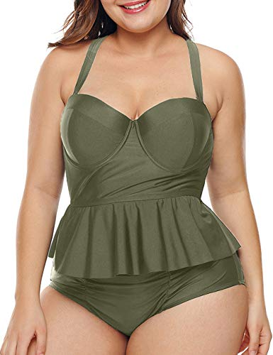 - CILKOO Women's Plus Size Swimwear Peplum Tankini Top Two Piece Bathing Suits Swimsuit Swimdress with High Waisted Swimsuit Bottoms Tummy Control Swimsuits Green US22-24 XXX-Large