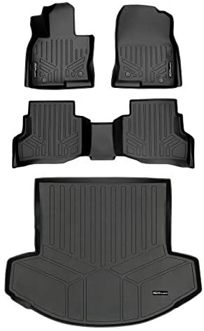 SMARTLINER Custom Fit Floor Mats 2 Rows & Cargo Liner Behind 2nd Row Set Black for 2016-2021 Mazda CX-9 with 2nd Row Bucket or Bench with Center Console