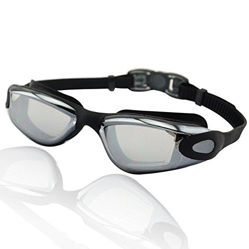»Orca« Schwimmbrille, 100% UV-Schutz + Antibeschlag. Starkes Silikonband mit Schnellverschluss + stabile Box. TOP-MARKEN-QUALITÄT! AF-1600m, schwarz