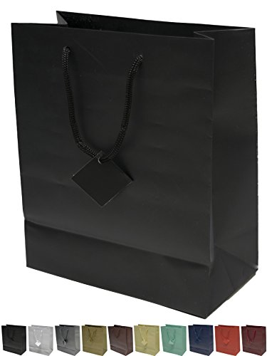 Elegant Black Gift Box (Novel Box® Black Matte Laminated Euro Tote Paper Gift Bag Bundle 8