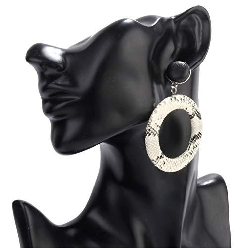 - Earrings,Acrylic Leopard Snake Print Round Drop Earrings for Women Tortoise Shell Jewelry (White)