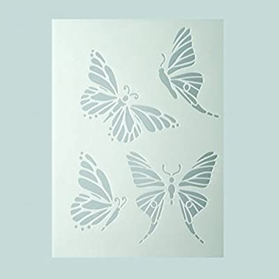Transparent Plastic Efco Stencil Butterflies//4 Designs Din A 5
