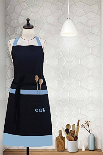 Milano Home Eat Embroidered 100% Cotton Professional Apron for Men & Women with Adjustable Neck & Centre Pockets Perfect for Cooking BBQ Baking Full in Length - Blue -