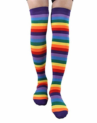 Fingerless Gloves, Long Arm Warmer Gloves, Rainbow Stripe Knee Thigh High Socks for Women Girls (Style 2 - Socks) -