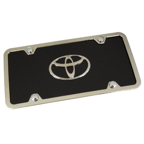 (Toyota Logo Black Acrylic License Plate with Chrome Frame)