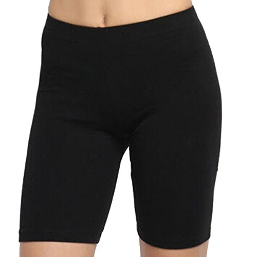 Clearance!Womens Retro Solid High Stretch Leggings Shorts Sports Gym Active Pants Cycling Athletic Workout Shorts (Black, Small)
