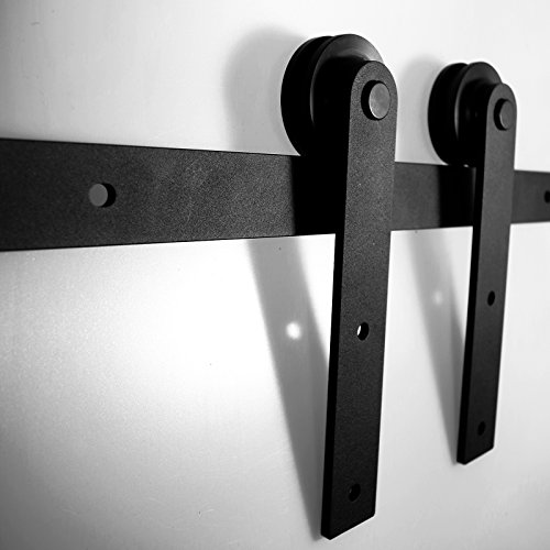 LWZH 11FT Sliding Barn Door Hardware Kit for Single Door(Black I-Shaped Hangers) by LWZH