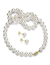 """14k Gold Round Handpicked AAA White Japanese Akoya Cultured Pearl Necklace 18"""" and Stud Earrings Set"""