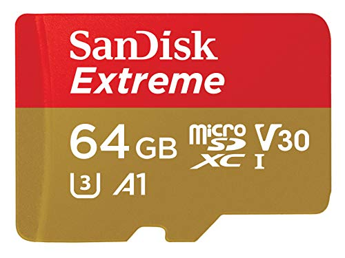 SanDisk 64GB Extreme microSDXC, U3, C10, V30, UHS 1, 160MB/s R, 60MB/s W, A2 Card, for 4K Video Rec on Smartphones, Acti