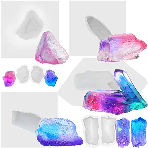 Funshowcase Growing Crystal Quartz Rock Cluster Geode Druzy Gem Silicone Mold Trays 6-Count for Resin Epoxy, Soap, Candle, Isomalt Assorted Size (Smaller)