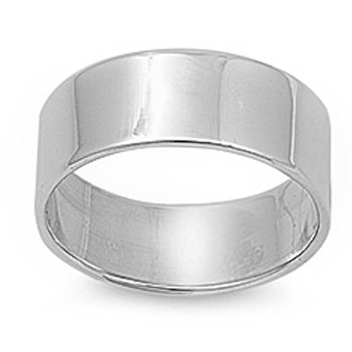 Flat Plain Solid Wedding Band 9MM .925 Sterling Silver Ring Sizes 5-12 (10)