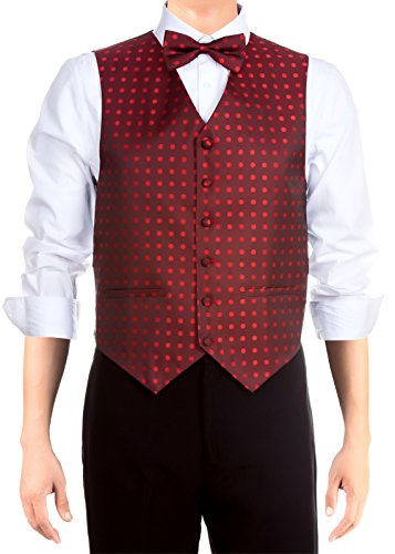 Retreez Men's Stylish Polka Dots Textured Woven Men's Suit Vest, Dress Vest Set with matching Tie and Pre-Tied Bow Tie, Gift Box Set as a Christmas Gift, Birthday Gift - Red Wine, Medium