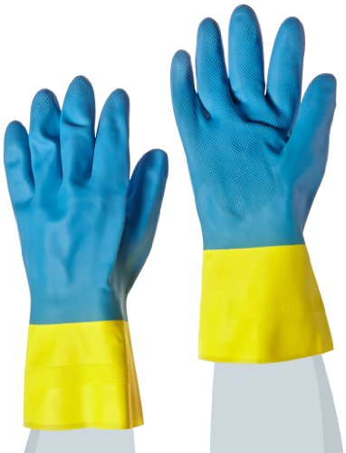 MAPA Two-Tone NS-53 Neoprene and Natural Latex Glove, Chemical Resistant, 0.028'' Thickness, 13'' Length, Size 10, Blue/Yellow (Bag of 12 Pairs) by MAPA Professional (Image #1)