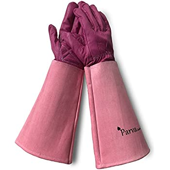 Leather Gardening Gloves for Women Elbow Length (Medium, elbow length, Pink)