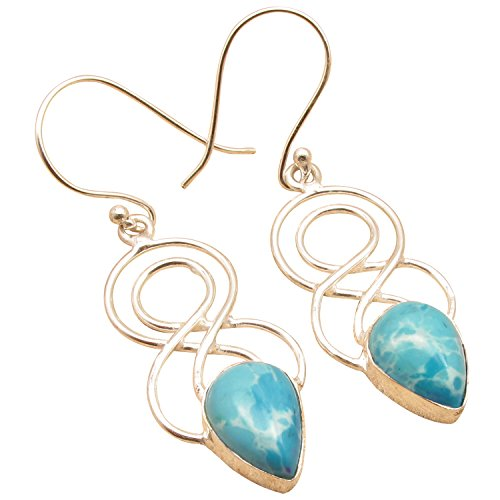 925 Sterling Silver Plated Drop GEMSTONE Swirl Wire Earrings ! Birthday Present Handmade Jewelry (Plated Silver Swirl)