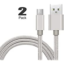 "[2Pack]Micro-USB Cable,iBarbe Nylon Braided 5FT for Amazon Kindle Fire Tablets,HD,Fire HD 8 10,HDX 8.9"" Paperwhite Voyage Oasis Reader Tap Playstation 4 Xbox One,WiFi 3G USB Data Sync Cable-Silver"