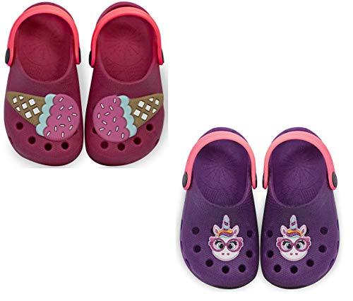 Kit com duas Sandalia Babuche Feminino Infantil Menina Calce Fácil - Sorvete Rosa e Unicórnio Roxo - 25/26
