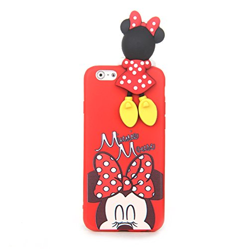 Red Minnie Mouse with Doll Case for iPhone 6Plus 6+ 6s+ Large Size Soft TPU 3D Disney Polka Dot Cartoon Slim Shockproof Protective Fun Lovely Cute Fashion Hot Gift Little Girls Teens Kids