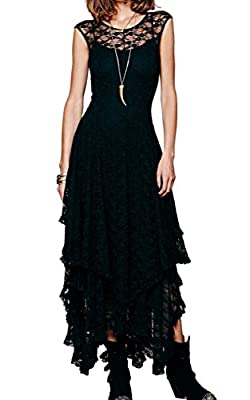 ACEVOG Women's Sexy Sleeveless Floral Lace Tiered Long Irregular Party Dress