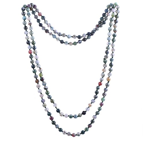 Qitian 6mm India Agate Beads Necklace Women Handmade Long Necklace Stone Beads Necklaces 47'' (Beaded Necklace Handmade)
