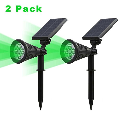 Solar Spotlight, IP65 Waterproof 4 LED Solar Lights Wall Light,Auto-on/Off Security Light Landscape Light 180° angle Adjustable for Tree,Patio,Yard,Garden,Driveway,Pool Area.T-SUNRISE(2 Pack Green)