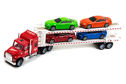 - Purplecraft Toy Truck Transporter Trailer Semi Truck – Children's Friction Toy Truck w/ 4 Cars Toys – 14.5