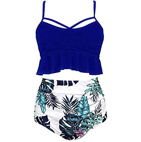 Pengy Women's High Waist Bikini Crop Flounce Two Piece Swimsuits Flowy Bathing Suit Soild Color Bikini Dark Blue