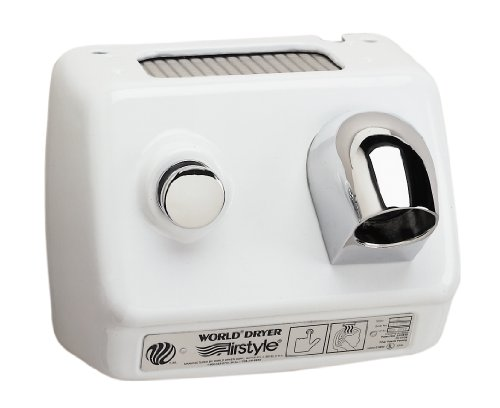 - World Dryer AirStyle B7-974 Cast Iron White Push Button Hair Dryer - 277V