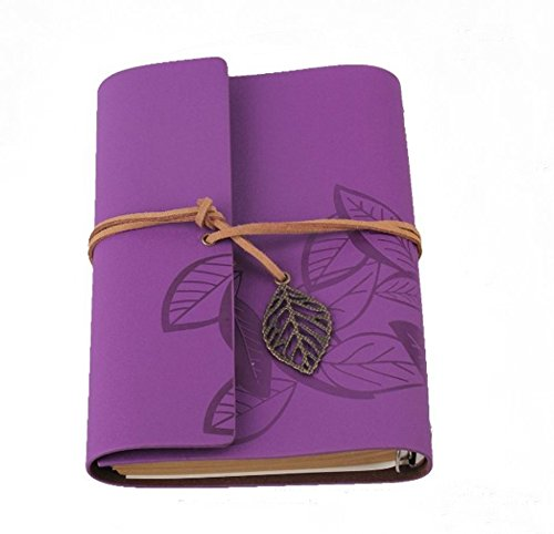 Comsic Classic String PU Leather Purple Loose-leaf Blank Notebook Diary Travel Journal Note Book