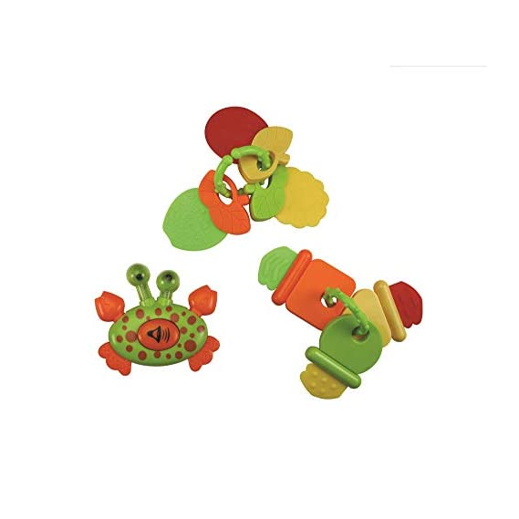 Luvlap Crab Horn and Fruit Teether Rattles for Baby, Multicolor