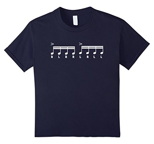 12 Drummers Drumming Costume (Kids Paradiddle - Funny Drummer Sheet Music Drumming Shirt 12 Navy)