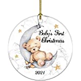 JUOOE Bear Ornament Christmas Wedding Decoration Baby's First Christmas Newlywed Boy's Christmas Ornament 2021 (Yellow and Wh