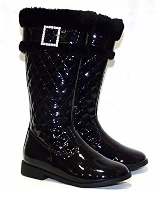 GIRLS BLACK PATENT BOOTS BLACK GORGEOUS NEW IN SIZE UK 10 TO 3 (2 ...