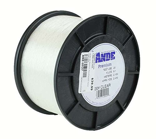 Line 1 Lb Monofilament Spool - Ande Premium Monofilament Line, 1-Pound Spool, 50-Pound Test, Clear Finish
