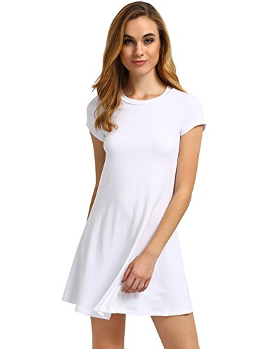 ROMWE Women's Short Sleeve Shirt Casual Swing Dress White L
