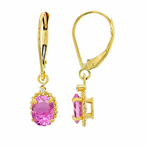 14K Yellow Gold 1.25mm Round White Topaz & 6x4mm Oval Created Pink Sapphire Bead Frame Drop Leverback Earring