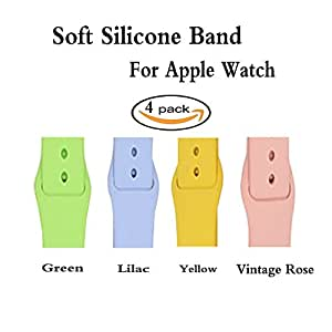Smart Watch Bands,42mm 4 Pack Silicone Sport Replacement Wristband For Apple Watch Series 3, Series 2, Series 1, Nike+, Edition,Small Size (42mm-4Pack-Small 02)