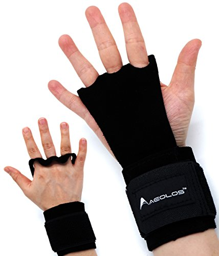 - AEOLOS Leather Gymnastics Hand Grips with Wrist Wraps, Great for Gymnastics, Crossfit WODs, Pull Ups, Chin Ups, Kettlebell Training and Power Lifting|Free Carry Bag ... (Black, Small)