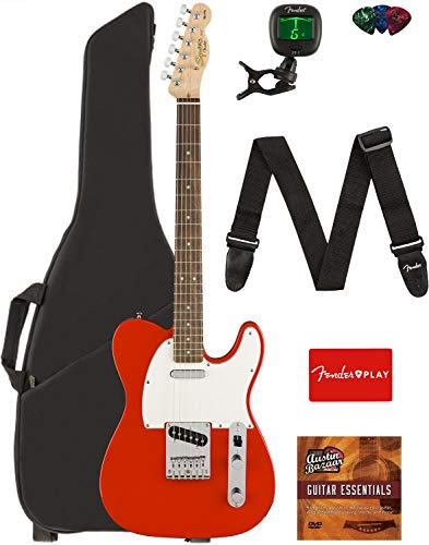 (Fender Squier Affinity Series Telecaster Guitar - Laurel Fingerboard, Race Red Bundle with Gig Bag, Tuner, Strap, Picks, and Austin Bazaar Instructional DVD)