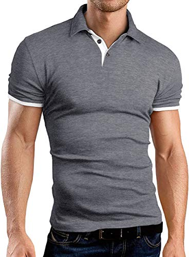 KUYIGO Mens Men's Perfect Slim Fit Short Sleeve Soft Fitted Polo Shirt Large Dark Grey