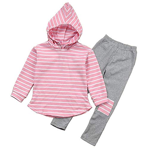 Toddler Kids Girl Striped Long Sleeve Hoodie Pants Outfits Fall Winter Clothes Set for 3-7Y Pink