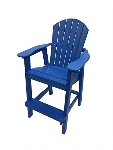 Phat Tommy Recycled Poly Resin Balcony Chair - Durable and Adirondack Patio Furniture Armchair, Blue (Materials Adirondack Chairs Recycled)