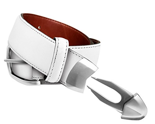 Leather Golf belt, built-in divot tool and ball marker in tip, KenRick Golf, White, size 34